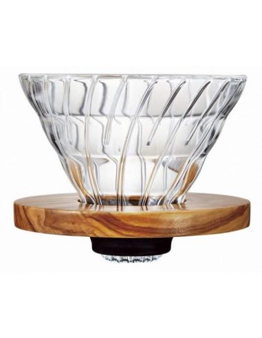هاريو V60 - قمع تقطير القهوة من الزجاج بحامل خشبي 02