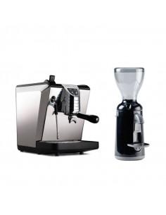 مجموعة آلة الإسبريسو أوسكار II باللون الأسود و طاحنة القهوة